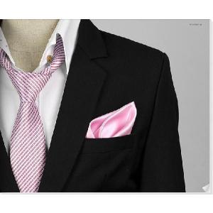 穏やかな光沢のポケットチーフ ソリッド サテン生地 ピンク!  PC01 |coconoco