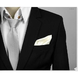 穏やかな光沢のポケットチーフ サテン生地 ソリッド アイボリー!  PC05 |coconoco