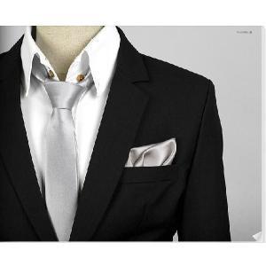 穏やかな光沢のポケットチーフ サテン生地 ソリッド ダークシルバー!  PC06 |coconoco