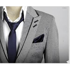 穏やかな光沢のポケットチーフ サテン生地 ソリッド ネイビーブルー!   PC08|coconoco