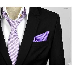 穏やかな光沢のポケットチーフ サテン生地 ソリッド パープル紫! PC09  |coconoco