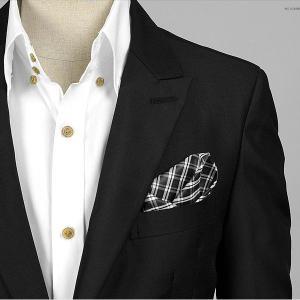 ポケットチーフ チェック柄 ブラック&ホワイト 両面 PC23  |coconoco