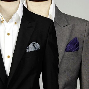 ポケットチーフ 形を作りやすい 穏やかなツヤ有り ミニチュアチェック柄 パープル・グレー2色  PC26 |coconoco