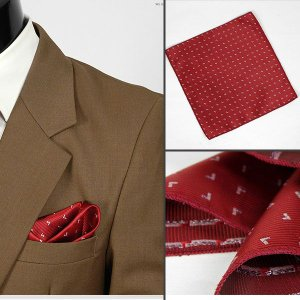 ポケットチーフ 銀糸 V飾り パターン  レッド  PC29|coconoco