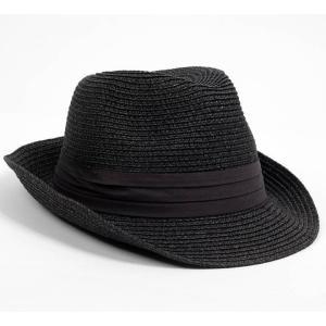 中折れハット ペーパー 帽子 ブラック 黒色 メンズ レディース 男女兼用 ツバ先 ワイヤー入り 58cm フリーサイズ 微調整可能|coconoco