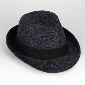 ペーパー 中折れハット ミックス ネイビー 紺色 メンズ レディース 男女兼用 帽子 ツバ先 ワイヤー入り 58cm フリーサイズ 微調整可能|coconoco