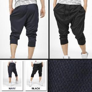 速乾性と通気性の良いクールマックス素材 バギースタイル ファッション トレーニング 七分 パンツ ブラック&ブルー 2色  tb45|coconoco