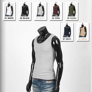 ラウンドネック 基本 袖なし Tシャツ 白、黒、グレー、ワイン、カーキ、ネイビー、ベージュの7色 tst07|coconoco