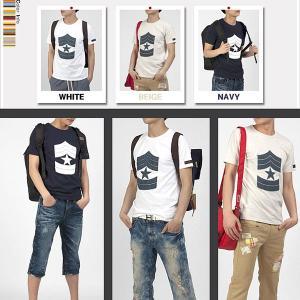 ラウンドネック 半袖 Tシャツ ミリタリー モチーフ 米軍 階級章プリント 袖裾 パッチ付き ホワイト、アイボリー、ネイビー 3色 tst09|coconoco