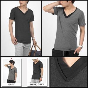 レイヤード Vネック 半袖 Tシャツ シルケット 綿 グレー/ダークグレー 2色 tst12|coconoco