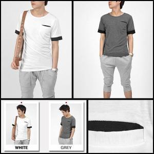 ラウンドネック 半袖 Tシャツ シルケット 綿 レイヤード効果 袖裾配色 ホワイト/グレー 2色 tst13|coconoco
