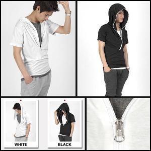 ロングフード ドレープ カットソー 半袖 Tシャツ シルケット 綿 ルーズフィット ホワイト&ブラック 2色 tst17|coconoco