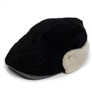 ハンチング帽 メンズ 冬 シーズン スウェード ボア フライト 耳あて ブラック 黒色 ハンチング キャップ 帽子 サイズ 58cm ゴムバンド式|coconoco