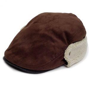 ハンチング帽 メンズ 冬 シーズン スウェード ボア フライト 耳あて ブラウン 茶色 ハンチング キャップ 帽子 サイズ 58cm ゴムバンド式|coconoco