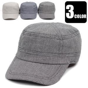 ワークキャップ 帽子 ハウンドトゥース マイクロ千鳥柄 メンズ レディース 男女兼用サイズ(58cm) UVカット サイズ調整 ベルト付き 3色 キャップ|coconoco