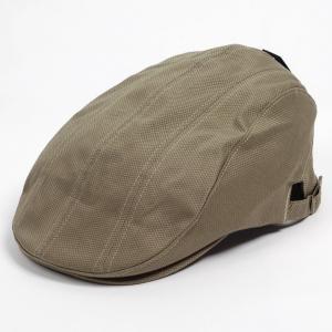 ハンチング メンズ レディース 鹿の子 生地風 ベージュ 3枚 はぎ合わせ 帽子 58cm サイドスナップ・キャップ 調整ベルト付き BEIGE coconoco