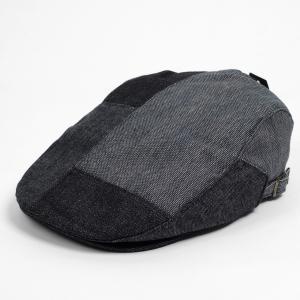 ハンチング メンズ レディース 黒 ブラック デニム 4枚 はぎ合わせ 帽子 58cm サイドスナップ・キャップ 調整ベルト付き BLACK coconoco