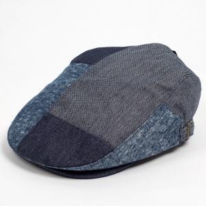 ハンチング メンズ レディース 紺色 ネイビー デニム 4枚 はぎ合わせ 帽子 58cm サイドスナップ・キャップ 調整ベルト付き NAVY coconoco