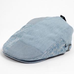 ハンチング メンズ レディース サックスブルー デニム 4枚 はぎ合わせ 帽子 58cm サイドスナップ・キャップ 調整ベルト付き Saxe Blue coconoco