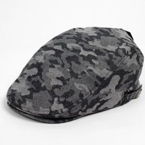 ハンチング メンズ レディース ブラック デニム カモ 迷彩柄 帽子 58cm サイドスナップ・キャップ 調整ベルト付き BLACK coconoco