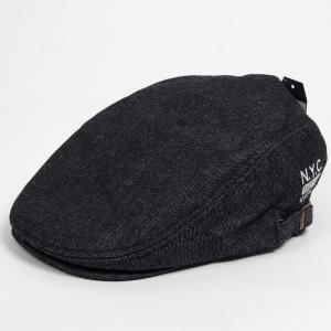 ハンチング メンズ レディース 黒 ブラック デニム NYC刺繍 帽子 58cm サイドスナップ・キャップ 調整ベルト付き BLACK coconoco