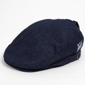 ハンチング メンズ レディース 紺 ネイビー デニム NYC刺繍 帽子 58cm サイドスナップ・キャップ 調整ベルト付き NAVY coconoco