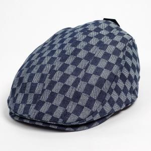 ハンチング メンズ レディース ネイビー デニム チェッカー ブロックチェック柄 帽子 58cm 裏調整ベルト付き NAVY coconoco