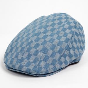 ハンチング メンズ レディース サックスブルー 空色 デニム チェッカー ブロックチェック柄 帽子 58cm 裏調整ベルト付き SAXE BLUE coconoco