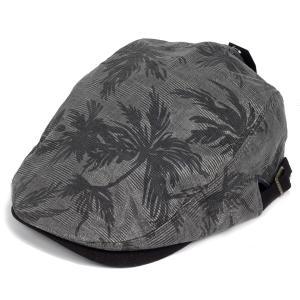ハンチング 帽子 メンズ 夏の雰囲気 ブラック 黒色 シャドー パームツリー 柄  ハンチングキャップ ハンチング帽 フリーサイズ (58cm) 調整可能|coconoco