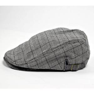 ハンチング メンズ グレンチェック ブラック 黒色 サマー スタンダード ハンチングキャップ ハンチング帽子 フリーサイズ (58cm)|coconoco