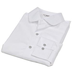 ドレスシャツ ラウンド カラー 丸い襟 伸びるストレッチ生地 長袖 ワイシャツ スリムライン シャツ ホワイト 白|coconoco