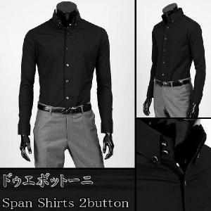 ワイシャツ メンズ 長袖 2ボタン ドゥエボットーニ ボタンダウン シャツ ゴールド・ボタン  ブラック yp05bl|coconoco