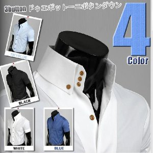 ワイシャツ メンズ 半袖  スパン スリムフィット 3ボタン ドゥエボットーニ ボタンダウン yシャツ 半袖 シャツ ワイドエリ 4色  ypst01 coconoco