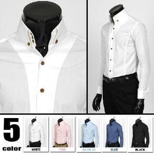 ワイシャツ メンズ 長袖  スリムフィット ストレッチ生地 3ボタン ドゥエボットーニ ボタンダウン 長袖シャツ ワイドエリ 5色 ypst01L|coconoco