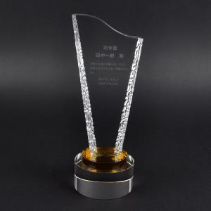 トロフィー工房 ガラス製 刻印無料 タイプ2 高さ26cm Sサイズ ホログラム刻印(ガラス内部)