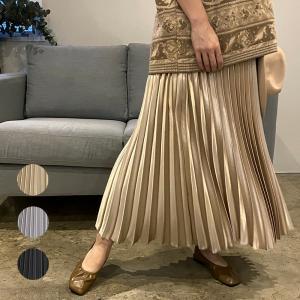 スカート メ3 メタリック カラー サテン地 ロング プリーツスカート スカート フレア レディース ロングスカート 送料無料|cocorocreation