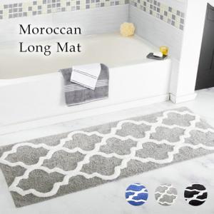 人気のモロッコ柄のロングサイズマット。 キッチンやお風呂場などにぴったりなサイズ感。 裏側は滑り止め...
