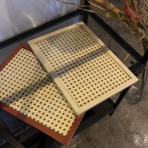 スクエア型 かごめ編み トレイ 長方形 ディスプレイ 雑貨 ギフト おしゃれ おすすめ インテリア プレゼント|cocorocreation