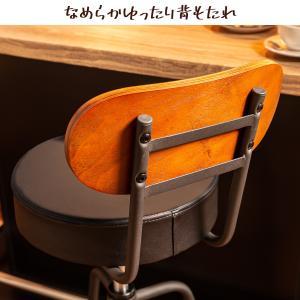 背もたれ付 バースツール コンパクト レザー調 バーチェア 高さ調節 360度回転 PVC スツール カウンターチェア|cocosa|04