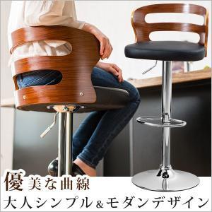 カウンターチェア 木製 バーチェア チェア クッション 背もたれ 曲線 広々座面 プライウッド 木目 PU 昇降 360度回転|cocosa