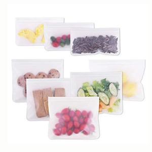 Candyeu 再利用可能なストレージバッグ ? 8 パック 漏れ防止シリコンとプラスチックフリー冷凍バッグ ジップロックランチバッグ 食品保存 冷凍庫使用 cocoshopjapanstore