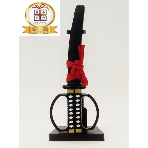 ニッケン刃物:日本刀はさみ(ブラック) 掛け台付き SW-28B