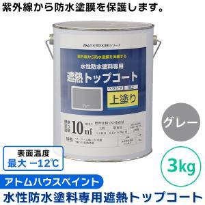アトムハウスペイント:水性防水塗料専用遮熱トップコート 3kg グレー