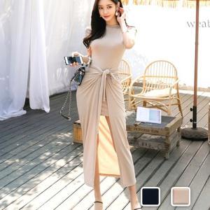 シンプルなミニワンピースのセットアップ!!巻スカートをプラスするだけで大人の魅力がプラス☆きれいめな...