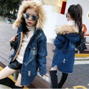 3fa9ce68d60e3 韓国系子供服 デニム ファー コート クラッシュ ダメージ キッズ 女の子 2019 秋冬 フード 暖かい ジャケット