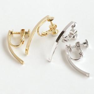 イヤリング金具 ロングバーR付 ゴールド/ロジウム 1ペア|coeur