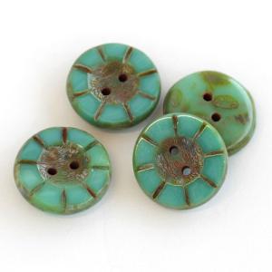 チェコビーズ ボタン 5×14mm ターコイズピカソ 2個 coeur