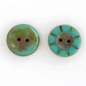 チェコビーズ ボタン 5×14mm ターコイズピカソ 2個 coeur 02