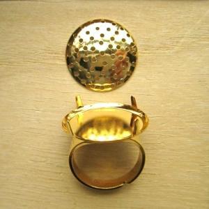 指輪金具 シャワーリング20mmフリーサイズゴールド/ロジウム/真鍮古美1セット coeur