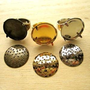 指輪金具 シャワーリング20mmフリーサイズゴールド/ロジウム/真鍮古美1セット coeur 02